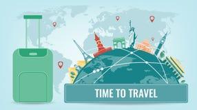 Reissamenstelling met beroemde wereldoriëntatiepunten Reis en toerisme Het malplaatje van de conceptenwebsite Vector vector illustratie