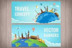 Reissamenstelling met beroemde wereldoriëntatiepunten Reis en toerisme Het malplaatje van de conceptenwebsite Vector Modern vlak  Stock Foto's