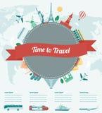 Reissamenstelling met beroemde wereldoriëntatiepunten Reis en Toerisme met vervoersinfographics Vector vector illustratie