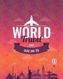 Reissamenstelling met beroemde wereldoriëntatiepunten en uitstekend kenteken Reis en toerisme abstracte achtergrond Vector Stock Fotografie