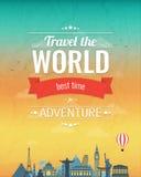 Reissamenstelling met beroemde wereldoriëntatiepunten en uitstekend kenteken Reis en toerisme abstracte achtergrond Vector Stock Afbeeldingen