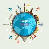 Reissamenstelling met de beroemde pictogrammen van wereldoriëntatiepunten Vector Royalty-vrije Stock Afbeelding