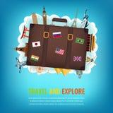 Reissamenstelling met koffer en beroemde wereldoriëntatiepunten Reis en toerismeachtergrond Vector Stock Afbeeldingen