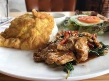 Reisspitze mit Aufruhrschweinefleisch und -basilikum Stockfotografie