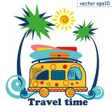 Reissummer van vector affiche het surfen en het reizen stock illustratie