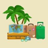 Reistaskoffer voor reis of roeping royalty-vrije illustratie