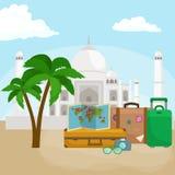 Reistaskoffer voor reis of roeping, de bagage van het toerismepictogram voor reis, vectorillustratie De zomerroepingen stock illustratie