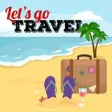 Reistaskoffer voor reis of roeping, de bagage van het toerismepictogram voor reis, vectorillustratie De zomerroepingen royalty-vrije illustratie