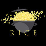 Reisteller in einem Topf Lizenzfreies Stockbild