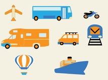 Reistijd met diverse wijzen van transporten Stock Afbeeldingen