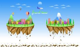 Reistijd twee de vlotter vectorillustratie eps10 van het stadsland stock illustratie