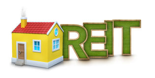 REIT text with 3d house Stock Photo
