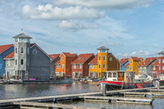 Reitdiep haven, Groningen, The Netherlands. Colorful buildings and boats in Reitdiephaven, Groningen, in the Netherlands Stock Photo