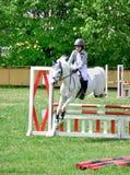 Reitenes weißes Pferd des jungen Jungen lizenzfreie stockbilder