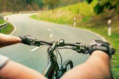 Reiter auf einem Fahrrad Stockfoto