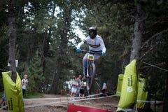REITER 14 DE JULIO DE EN 2018 VALLNORD, LA MASSANA, ANDORRA COPA DEL MUNDO UCI FAHRRAD ABWÄRTS 2018 DES MONTAIN Stockbild