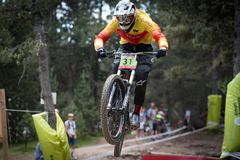 REITER 14 DE JULIO DE EN 2019 VALLNORD, LA MASSANA, ANDORRA COPA DEL MUNDO UCI FAHRRAD ABWÄRTS 2018 DES MONTAIN Stockbilder