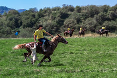 Reiter, der auf ein Pferd mit einer Ziegenkarkasse galoppiert Kasachisches nationales Spielreiten - kokpar lizenzfreie stockfotografie