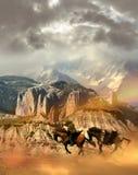 Reiter, der die Wüste kreuzt stock abbildung
