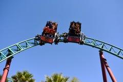 Reiter, die der Fluch-Achterbahn der Kobras an Tampa Bay Bereich spinnend genießen stockbild