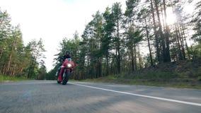 Reiter fährt ein Fahrrad entlang der Straße mit Kiefern Motorradfahrer, der sein Motorrad läuft stock footage