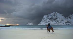 Reiter gegen Sonnenuntergang Stockfoto