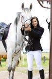 Reiter mit Pferd stockfoto