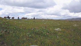 Reiter zu Pferd clip Sommerweiden in einem zwischen Bergen liegenden Tal Leute zu Pferd in der grünen Wiese lizenzfreie stockfotografie
