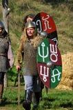 Reiterdemonstration in den traditionellen Kostümen Lizenzfreie Stockfotos