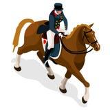 Reiterdressurreiten-Sommer-Spiel-Ikonen-Satz Isometrischer Jockey der olympics-3D und Pferdesport- Wettbewerb Sport Infographic-R Lizenzfreie Stockfotos