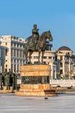 Reitermonument Gotse Delcev in Skopje Stockbilder
