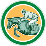 Reitershow, die den Seitenkreis Retro- springt Lizenzfreies Stockfoto