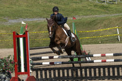 Reitershow-Springen Stockfoto