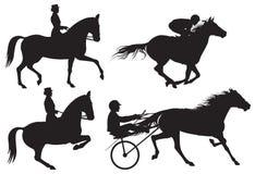 Reitersportpferde und -mitfahrer silhouet Stock Abbildung