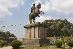 Reiterstatue n Addis Ababa, Äthiopien Menelik II Stockfotos