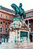 Reiterstatue von Prinzen Eugene des Wirsings bei Sonnenuntergang stockfotos