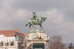 Reiterstatue von Prinzen Savoyai Eugen vor historischen Royal Palace in Buda Castle Lizenzfreies Stockbild