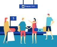 Reivindicação de bagagem no aeroporto - ilustração colorida do estilo liso do projeto ilustração do vetor