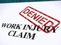 A reivindicação de ferimento de trabalho negada mostra as despesas médicas recusadas ilustração do vetor