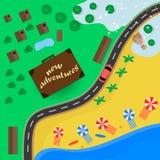 Reizen aan warme bestemmingen voor de vakantie door auto vector illustratie