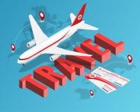 Reizen moet leven Kaartjes en Passagiersvliegtuig Onze banner van reisbestemmingen Het isometrische concept van de Luxevakantie stock illustratie
