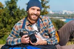 Reizen is onmogelijk zonder camera Royalty-vrije Stock Foto's