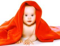 Reizend Baby kriecht in Tuch Stockfoto