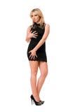 Reizend blonde Frau im Schwarzen Stockfotos