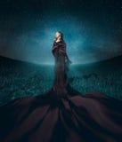 Reizend blonder Stand gegen den Hintergrund der sternenklare Himmel stockfoto
