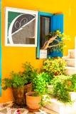 Reizend bunte mit Blumenstraßen der alten Stadt in Naxos-Insel GR Lizenzfreies Stockbild