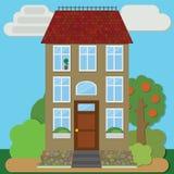 Reizend Haus umgeben durch einen Garten Stock Abbildung