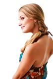 Reizend junge Dame im bunten Kleid Lizenzfreie Stockbilder
