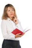 Reizend junge Geschäftsfrau lokalisiert auf weißem Hintergrund Lizenzfreies Stockbild