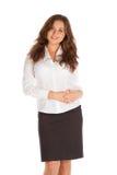 Reizend junge Geschäftsfrau lokalisiert auf weißem Hintergrund Lizenzfreie Stockbilder